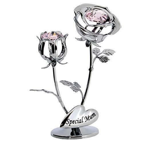CrystoCraft Special Mum Chrome Plated Rose and Rose Bud with Swarovski Crystals